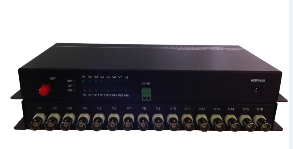该产品采用最新光纤通讯技术,将16路视频,1路RS232/RS485/RS422数据复用在一条光纤上传输。视频信号兼容PAL、NTSC和SECAM制式。该产品安装方便,无需任何调节即可工作,可以在长达100公里的距离上传输高质量的视频、音频、数据和以太网信号。目前广泛应用于视频监控、铁路/高速公路监控、安防、视频会议等领域。